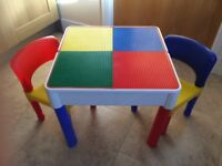 ** Very Good Condition ** - Liberty Construction Multi-Purpose Activity Table & 2 Chairs