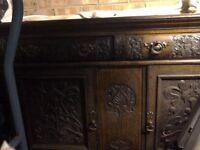 Wooden ornate carved sideboard