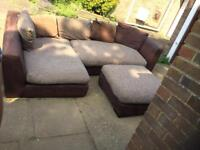 DFS brown large corner sofa with footstool