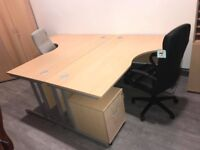 NEW beech office desks in straight or corner - different sizes available