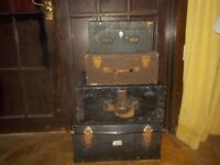 4 x VERY OLD VINTAGE WOODEN SUITCASES / TRUCK / BOX / CHEST ** CLACTON ON SEA - CO15 6AJ