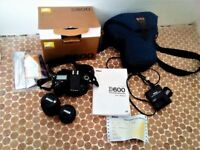 Nikon D600 DSLR, w/ 2 x Lenses, 2 x Batteries, Charger, Users manual, Case, 2 x SD cards 32GB