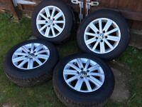 VW VOLKSWAGEN GOLF MK6 ALLOY WHEELS 195/65/15 TYRES CONTINENTAL CADDY VAN PASSAT £250