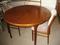 extending teak dining room table 1970's