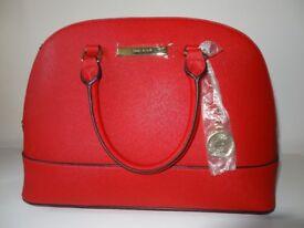 Anne Klein Classic Revival II Fire Red Dome Satchel Handbag