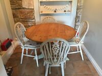 Table & 4 chairs Shabby chic