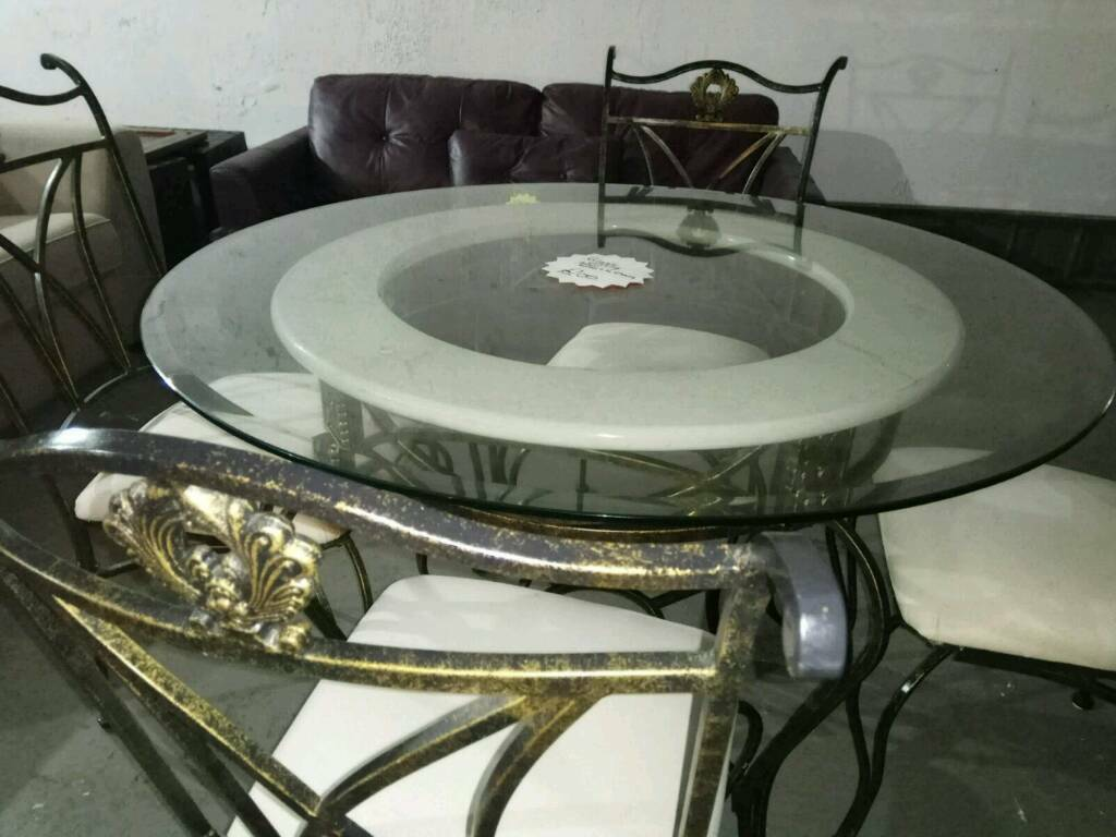 Beautiful Round Glass Marble And Wrought Iron Dining Table With - Wrought iron round glass dining table