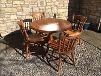 SOLID PINE ROUND DRUM KITCHEN DINING TABLE & 4 CHAIRS SHABBY CHIC -CAN DELIVER