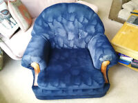 Armchair - Navy Blue Floral Pattern with wood detail