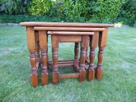Nest of 3 small tables in stained pine