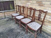 4 oak/tapestry Edwardian dining room chairs