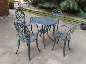 Bistro Set Cast Aluminium (Table Chairs Garden Metal Round) FREE LOCAL DELIVERY