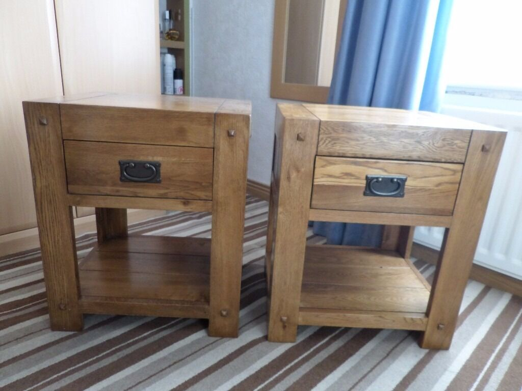 Reduced For Quick Sale Two Rustic Solid Oak Bedside Tables Oak