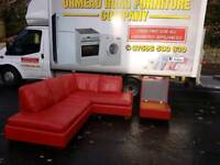 Red leather corner sofa with matching footstool automan