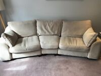 Angled 4 seater sofa. Comprises 3 dismantled sections.