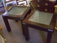 SQUARE DARK WOOD COFFEE TABLES WITH GLASS CENTRES