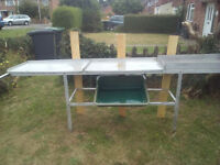 2 tier.8ft Greenhouse aluminium Staging/tidy station for Plants & Potting. Good condition.