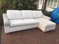 DFS corner sofa in excellent condition - light creme brushed cord // free delivery