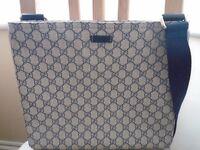 Genuine Gucci Large Bag Beige / Blue Monogrammed GG Supreme. Very Rare. 30cm by 35cm