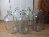 5 Glass 1 Gallon Demijohns used for wine making
