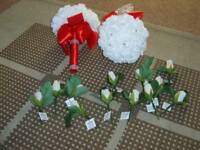 2 red/white bridemaid flowers (artificial) £5 for both 12 artificial white rose button holes £5