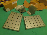 Set of 8 Chequer glass place / table mats and two sets of 6 glass chequered coasters with stands
