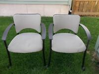 2 TEKNION WHEELED OFFICE  GUEST CHAIRS