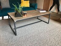 Handmade Industrial Coffee table made of thick birch plywood and welded metal
