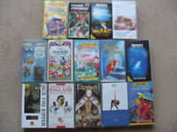 14 x VHS Tapes Disney, Rugby, Discovery, Cartoons, Snow White, Kids Job Lot
