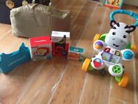 Fisher price zebra walker and other items