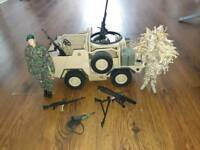 Hm armed forces vehicle and 2 figures