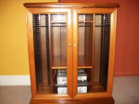 Real Teak Hi Fi unit with etched glass doors