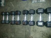 dumbells hex rubber coated