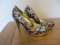 Ladies Black & Gold Sequin Leopard Print High Heel Shoes Size 3