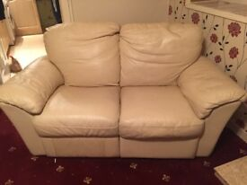 3 and 2 seater cream leather recliner suite in good condition, must be collected this week