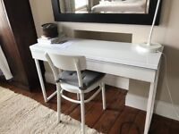 White IKEA desk and chair in good condition