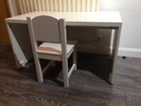 Ikea white children's desk and chair