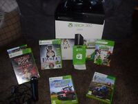 XBOX 360 UK 500GB BOXED WITH FARMING SIMULATOR 15, FARMING SIMULATOR 13, X FACTOR WITH MICROPHONE