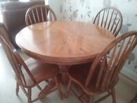 "Circular table + 6 chairs and matching unit table 45 "" diameter can be extended to 5ft oblong"