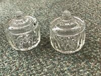 Pair of Cut Glass Trinket Boxed