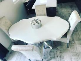 French style white dining table & 4 silver crushed velvet chairs