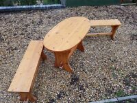 Useful Wood dinning SET with 2 benches