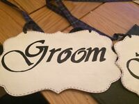 Wedding decorations, chair signs