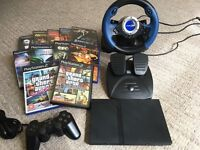 Sony Super Slim PS2 Games Console + 11 Games + Steering Wheel + All Leads | Excellent Condition |