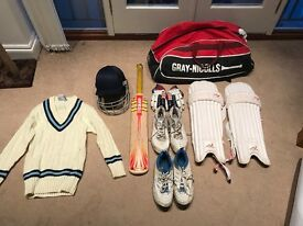 Cricket equipment, helmet, bat, gloves, bag etc