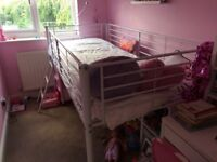 Great condition, white metal mid sleeper single bed
