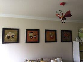 4 metal children's pictures