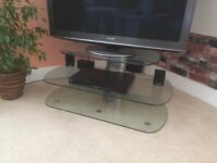 3 tier, glass/silver TV stand