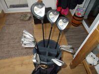 Set of Mitsushiba golf clubs and bag