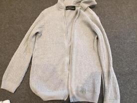 Men's large grey knitted cardigan by Micheal Stanley.